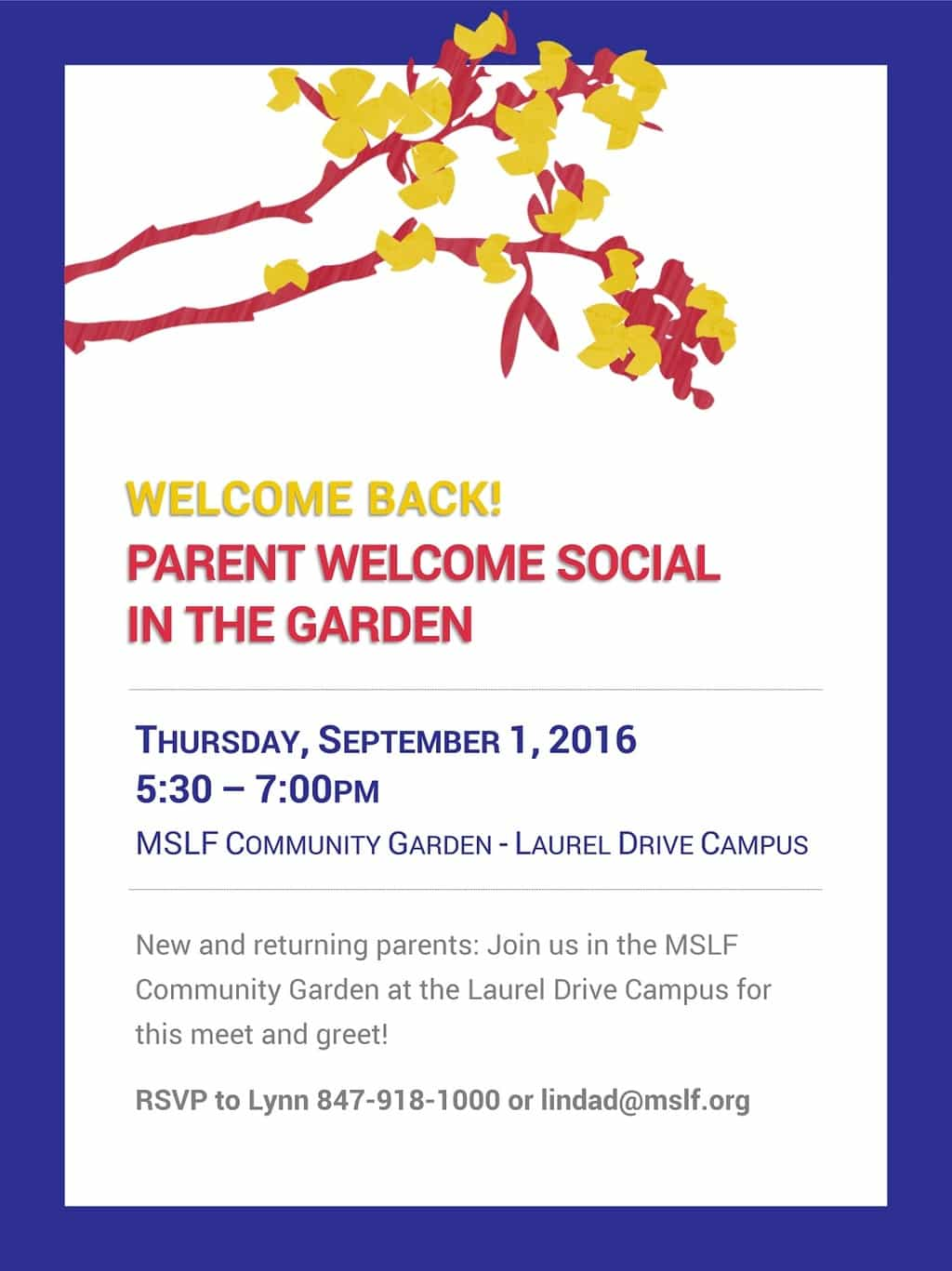 Parent Welcome Social in the Garden @ Laurel Drive Campus | Lake Forest | Illinois | United States